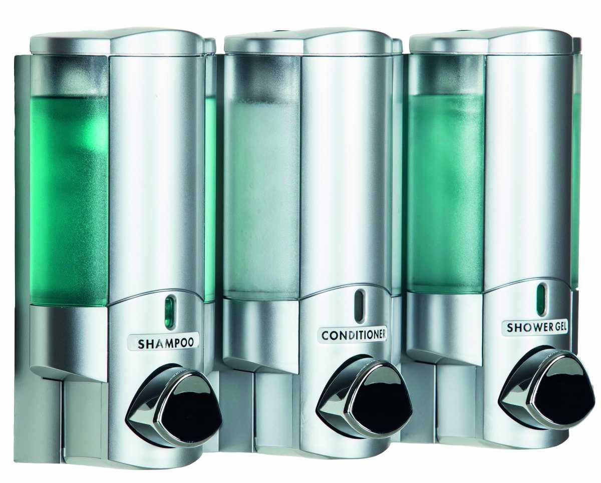 AVIVA III Üçlü Mat Krom & Şeffaf Dispenser