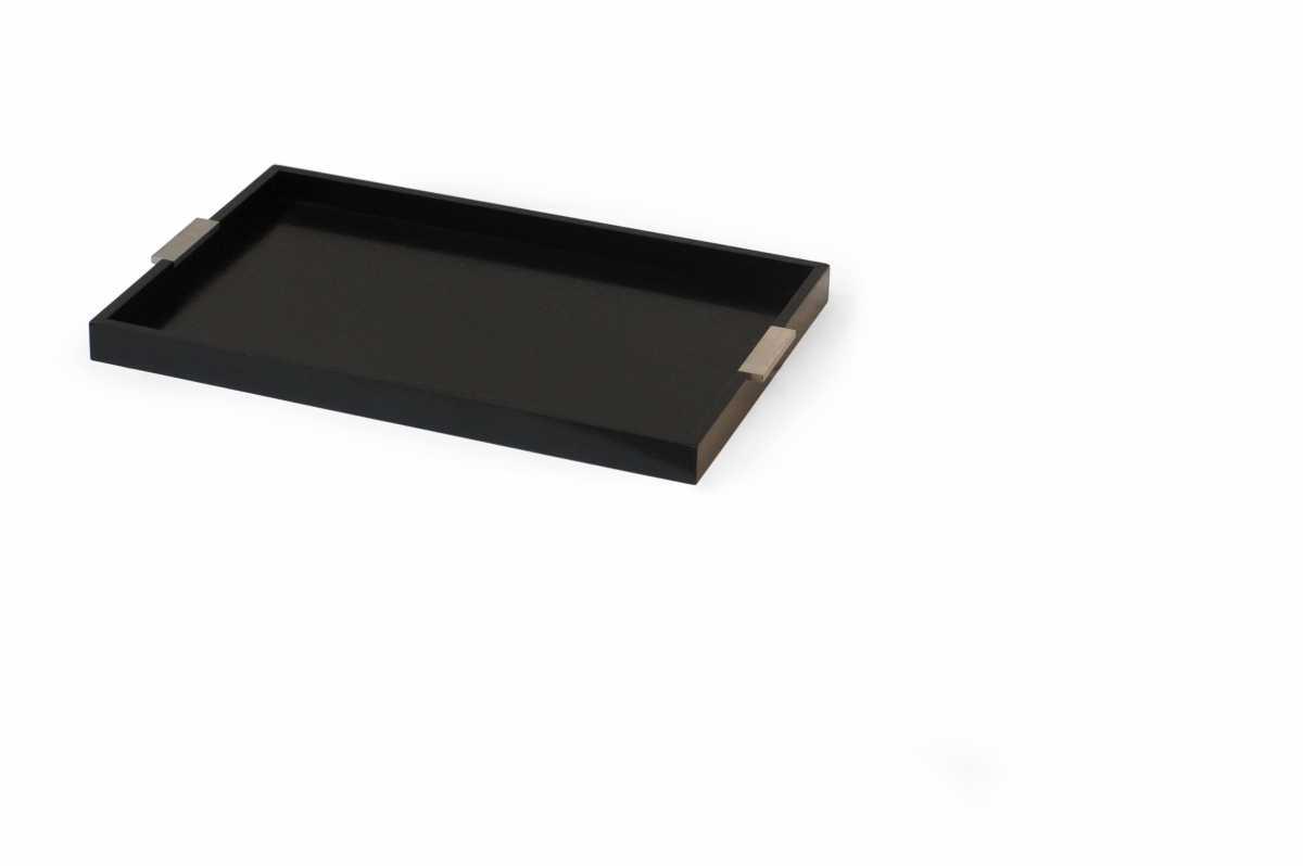 CRASTER Modern Paslanmaz Çelik Saplı Tepsi, Siyah
