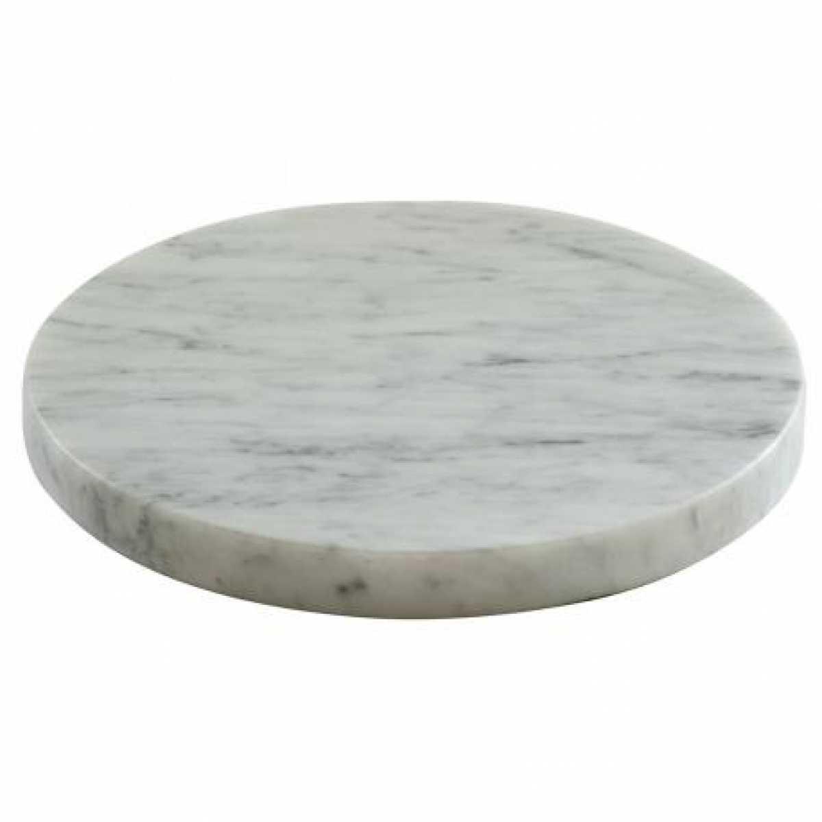 CRASTER Tilt Marble Round Plinth - Beyaz Mermer