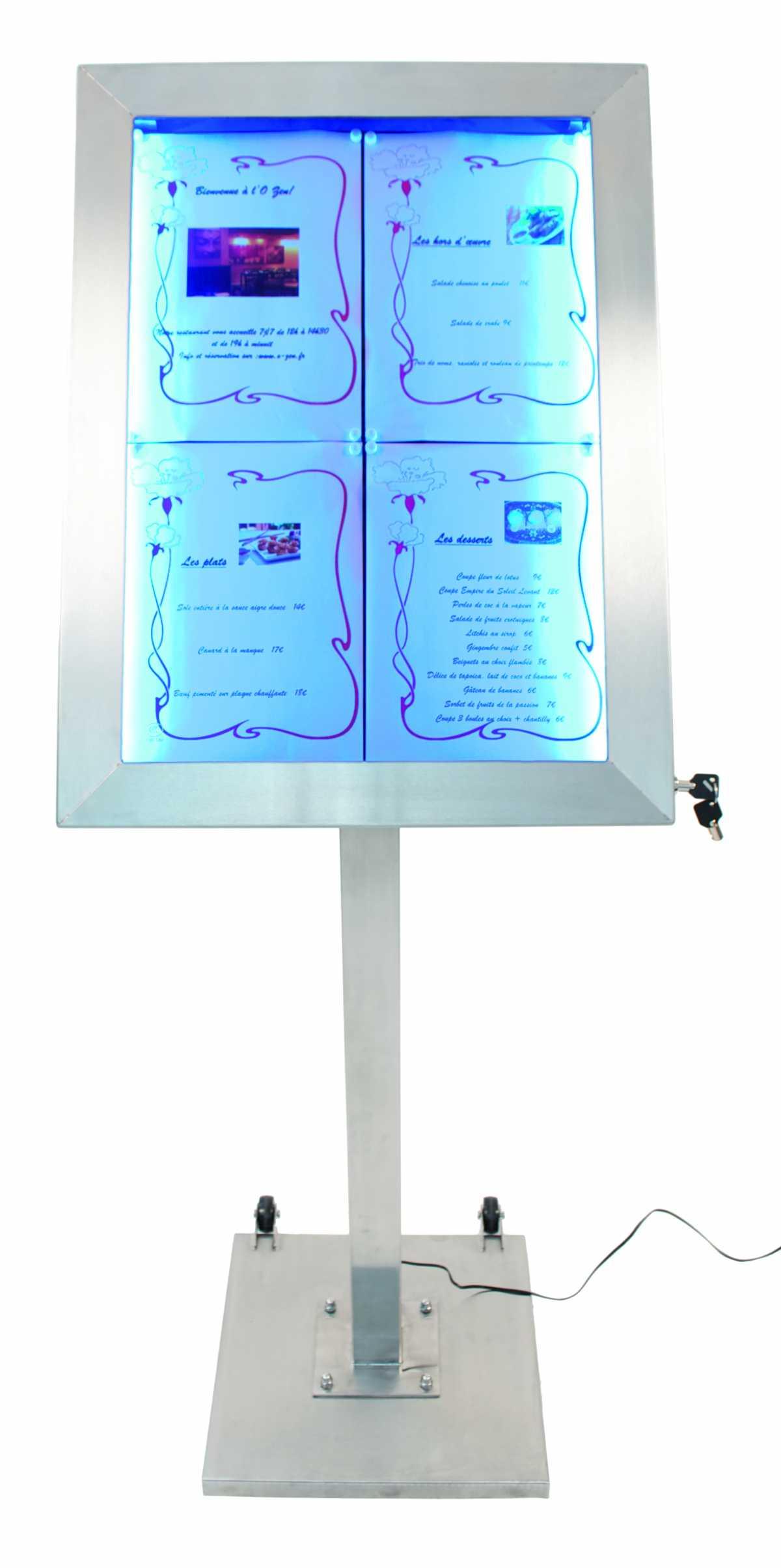 Kare Taban Menülük + 120 cm düz ayak + 4 x A4 display LED
