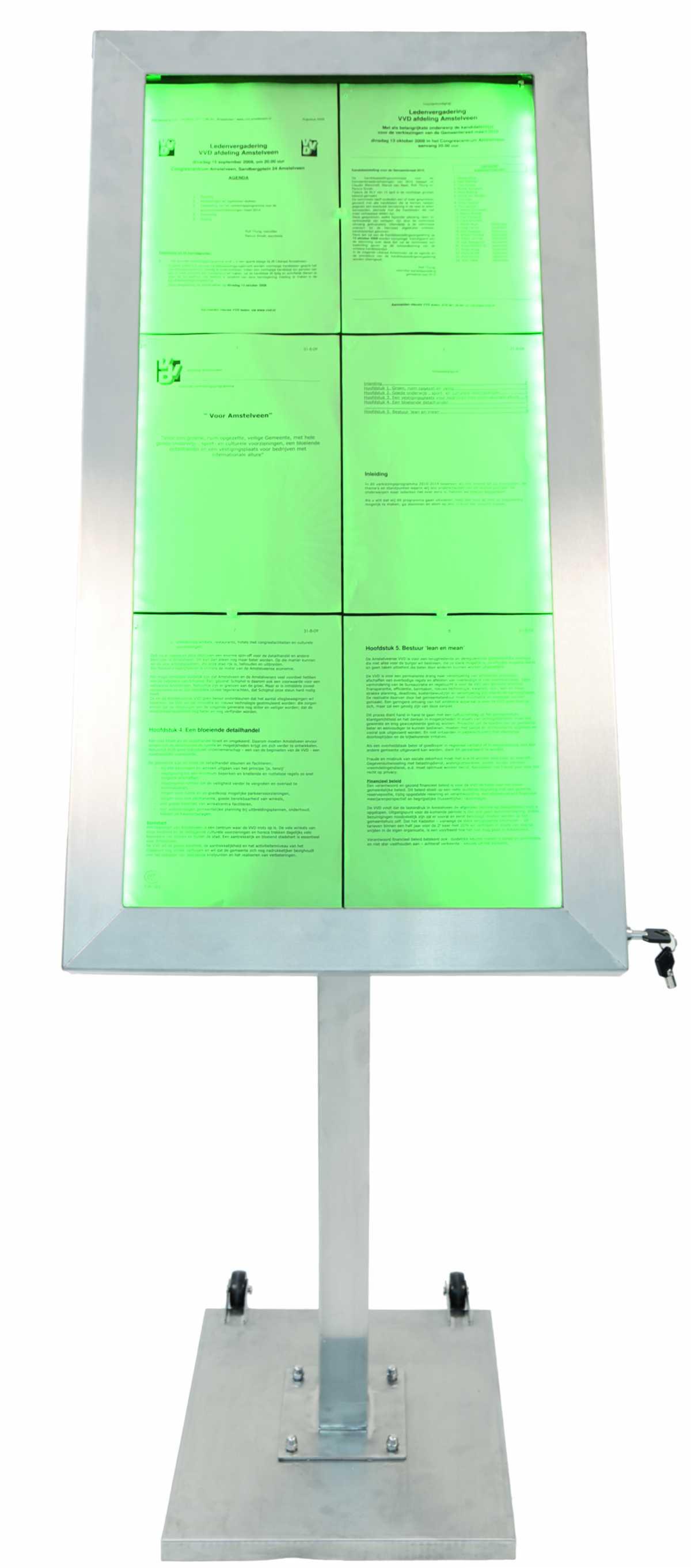 Kare Taban Menülük + 120 cm düz ayak + 6 x A4 display LED
